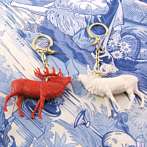 Bag Charm red or white, deer