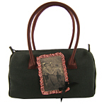 Handbag In Anthracite Woollen Cloth