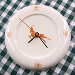 "Procelain Clock ""Chamois"" with Edelweiss"