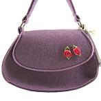 "Felt Handbag ""Tess"" Lilac With Pink Roses"