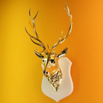 Gold Deer Head Sculpture 