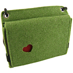 "Felt Bag ""Rosi"" Green With Red Heart"