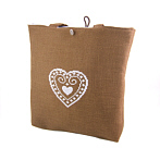 Brown Linen Handbag, Cross Stitch Blue Heart