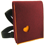"Autumnred Across The Body Felt Bag ""Wally"" With Orange Heart"