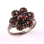 Silver Flower Ring with garnets