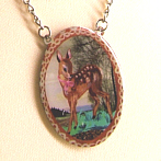 Necklace with Bambi and Landscape