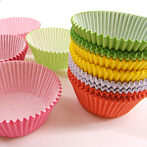 Muffin liners pink, red, green