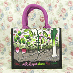 vegetable, green and violet handbag