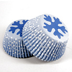 paper muffin liners light blue, white dotted