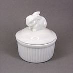 white ceramic box rabbit
