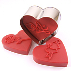 heart cookies, biscutis with flower stamping, embossment