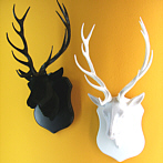funky black stag head wall deco white