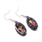 "Nostalgia Earrings Toadstool and Rose ""Aurelia"""