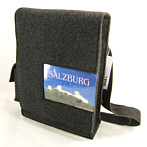 Handmade felt bag with postcard pocket
