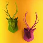 kitsch stag heads pink, green, coloured